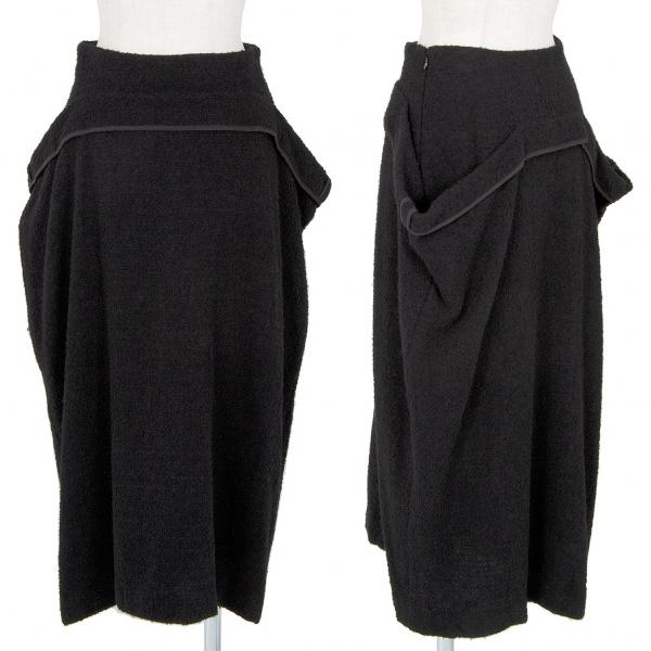 ヨウジヤマモトファムYohji Yamamoto FEMME パイルウールデザインスカート 黒1