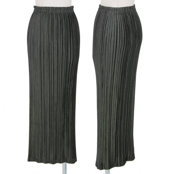 イッセイミヤケISSEY MIYAKE シャイニープリーツタイトスカート 緑S
