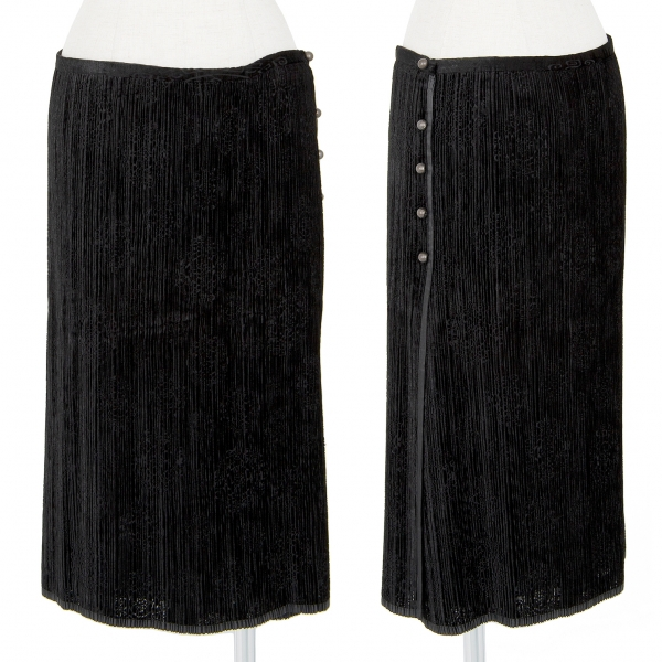 ISSEY MIYAKE FETE Textured Pleats Wrap Skirt Black 3