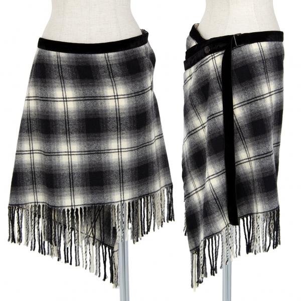 NUMBER (N)INE Check Fringe Wrap Skirt Black,Ivory F