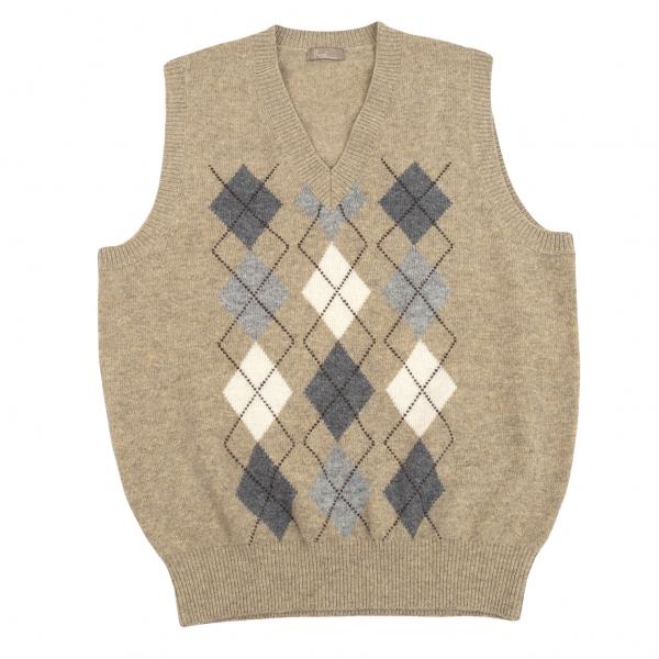 Papas Argyle check Wool Knit Vest Mocha S-M