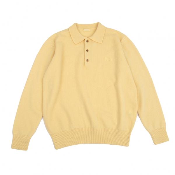 Papas Wool Cashmere Knit Polo Shirt Yellow S-M