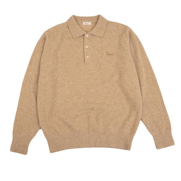 Papas Wool Knit Polo Shirt Mocha M