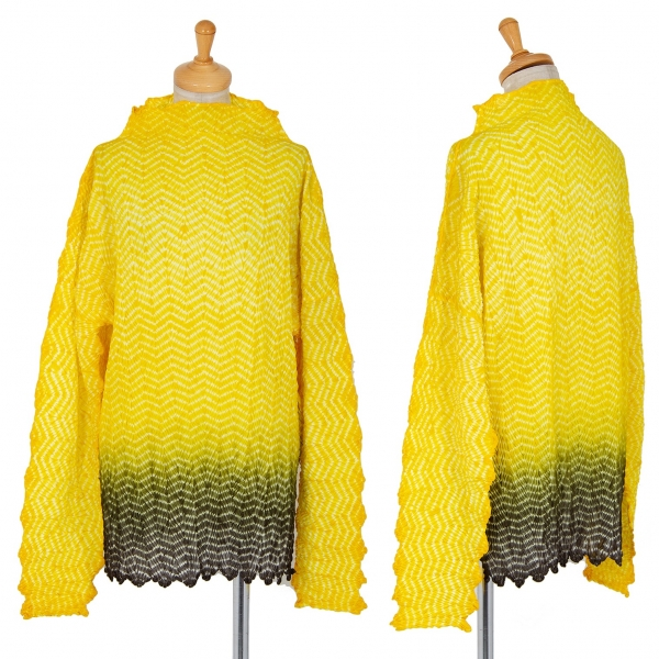 ISSEY MIYAKE Herringbone Pleats Dyed T Shirt Yellow M