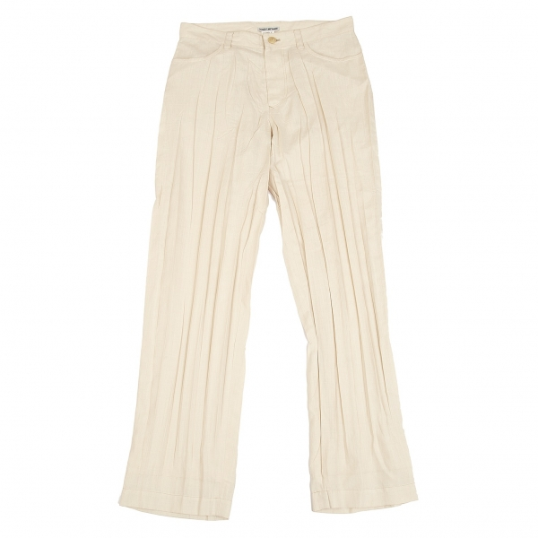 ISSEY MIYAKE Wrinkle Straight Pants Cream M-L