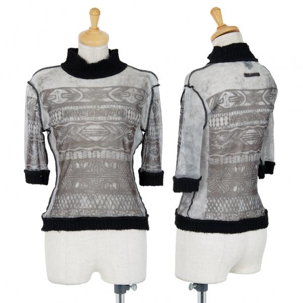 Jean-Paul GAULTIER FEMME Printed Mesh T Shirt Grey 40