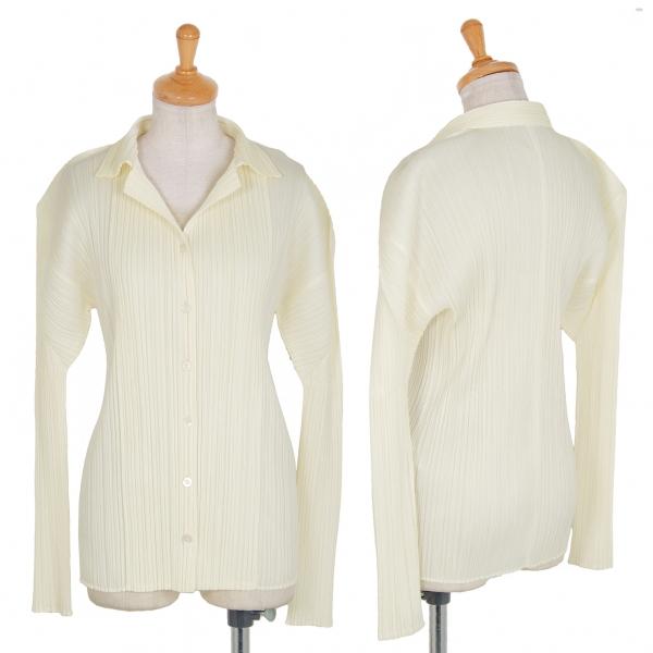 プリーツプリーズPLEATS PLEASE プリーツオープンカラーシャツ クリーム3