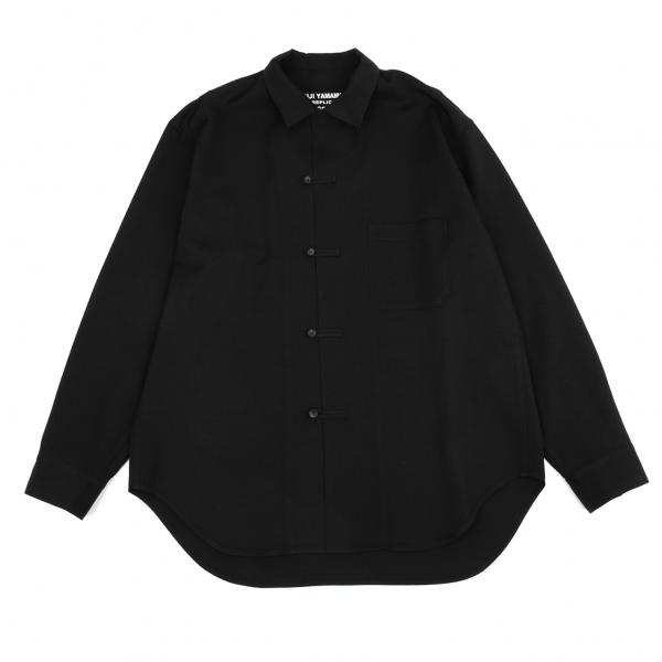 ヨウジヤマモト プールオムYohji Yamamoto POUR HOMME REPLICA 1986SSレプリカウールギャバチャイナシャツ 黒3
