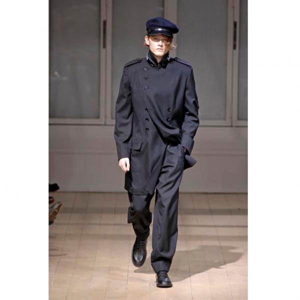 ヨウジヤマモト プールオムYohji Yamamoto POUR HOMME カラーピン袖パッチウールギャバダブルコート 黒4
