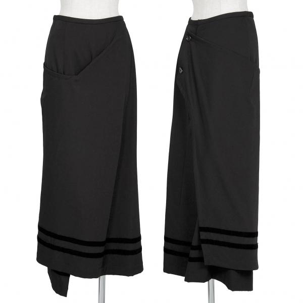 ローブドシャンブル コムデギャルソンrobe de chambre COMME des GARCONS ウールギャバベロアパイピングラップスカート 黒M位