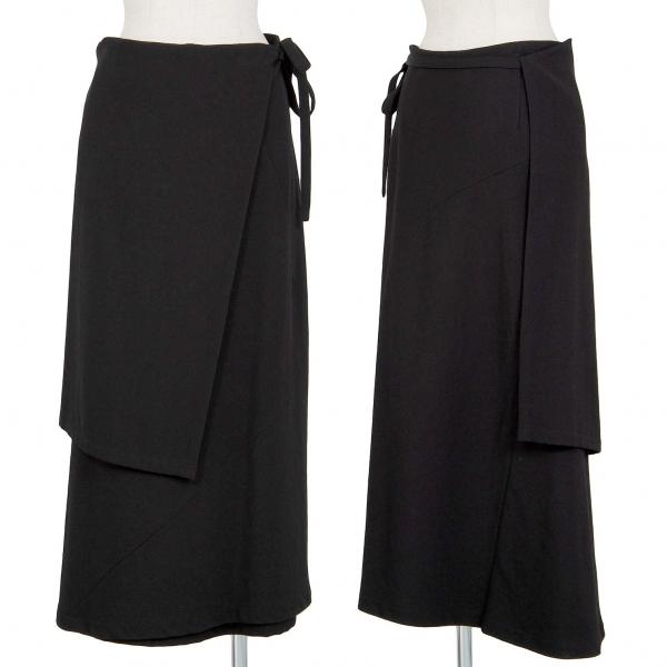 トリコ コムデギャルソンtricot COMME des GARCONS ウールギャバレイヤードスカート 黒M