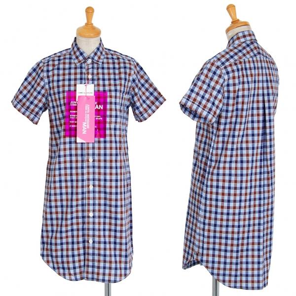 ジュンヤワタナベマンピンク コムデギャルソン チェック半袖ロング丈シャツ 水色他S