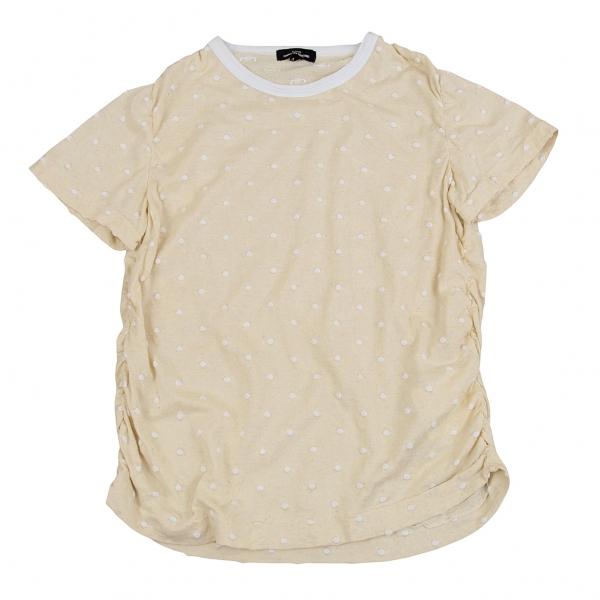 トリココムデギャルソンtricot COMME des GARCONS ふくれドットギャザー綿麻Tシャツ ベージュM