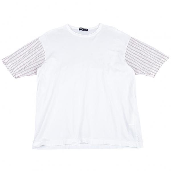コムデギャルソン オムCOMME des GARCONS HOMME 袖ストライプ切替Tシャツ 白M