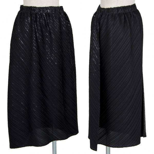 プリーツプリーズPLEATS PLEASE 泊プリントアシンメトリーバルーンスカート 黒3