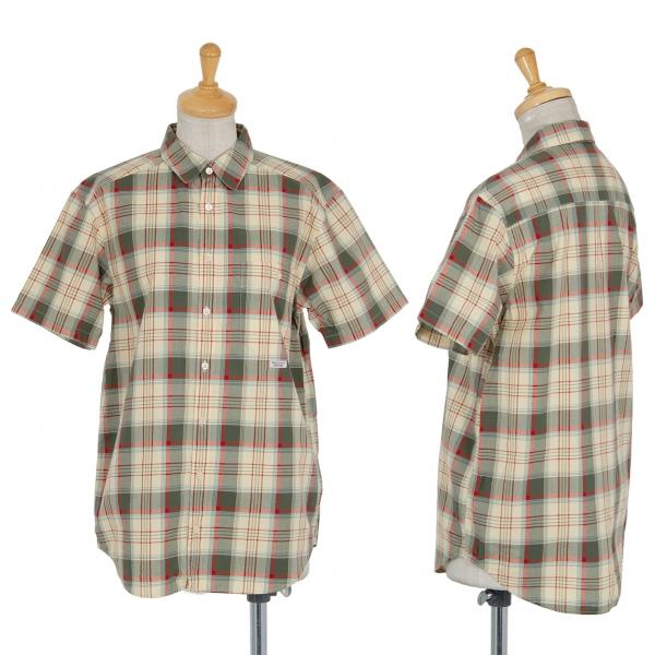 マドモアゼルノンノンMademoiselle NON NON マドラスチェック半袖シャツ ベージュ緑M位