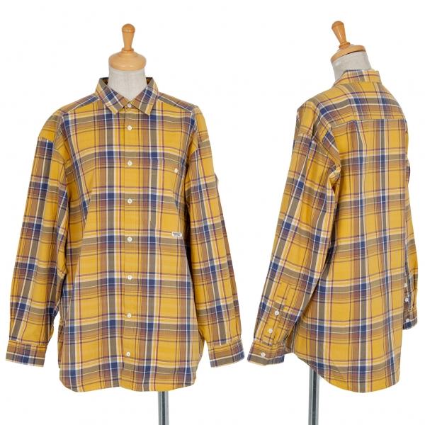 マドモアゼルノンノンMademoiselle NON NON マドラスチェック長袖シャツ 黄色L位