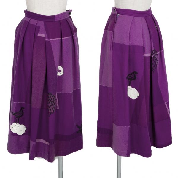 コムデギャルソンCOMME des GARCONS グラフィックパネルプリントプリーツスカート 紫S