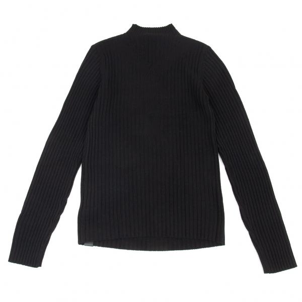 ワイスリーY-3 バックデザイン織りハイネックリブニットセーター 黒2XL