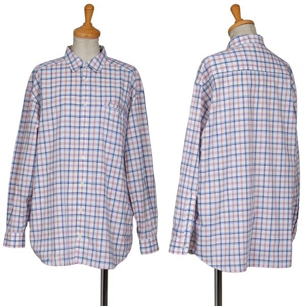 マドモアゼルノンノンMademoiselle NON NON コットンオーバーチェック玉縁ポケットシャツ 白青M位