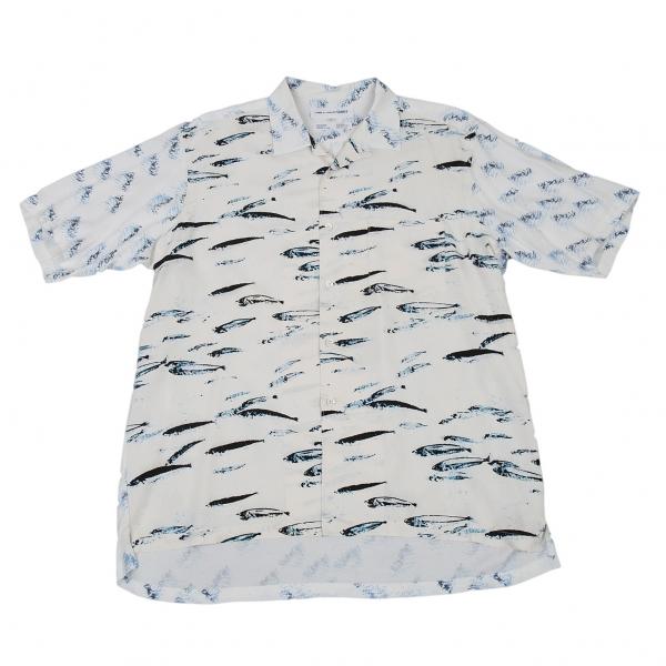 コムデギャルソン シャツCOMME des GARCONS SHIRT フィッシュプリント切替半袖シャツ 生成り白S