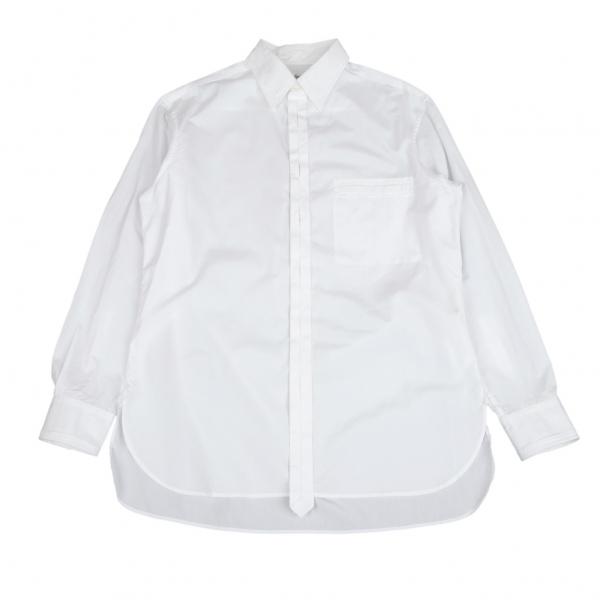 ヨウジヤマモト プールオムYohji Yamamoto POUR HOMME ジグザグ比翼前立裁ち切りデザインシャツ オフ4