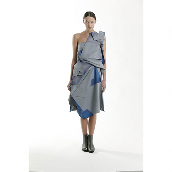 イッセイミヤケISSEY MIYAKE 132 5. カラープリントプレスプリーツスカート グレー青3