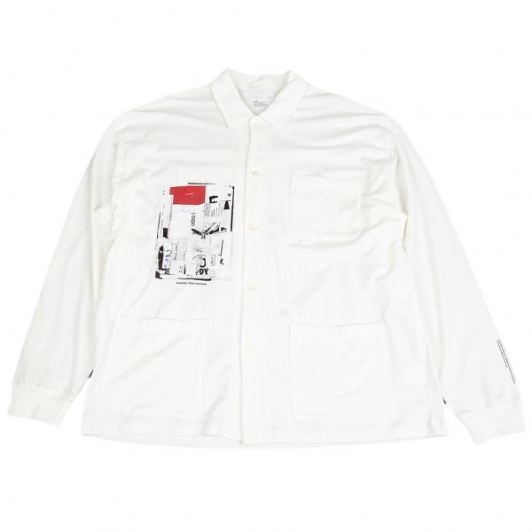 スケアーFACE×SHOHEI YOSHIDA×scair コットン天竺トリプルコラボグラフィックプリントシャツ 白5