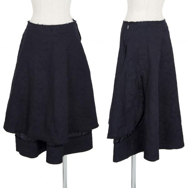 コムコム コムデギャルソンCOMME des GARCONS フローラルジャガードカットオフスカート 紺S