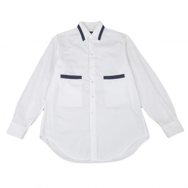 黒タグ ジョルジオ アルマーニGIORGIO ARMANI 切替ポケット長袖シャツ 白紺39