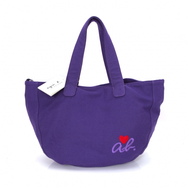 アニエスベーagnes b.VOYAGE ウール混フェルト刺繍ハンドバッグ 紫
