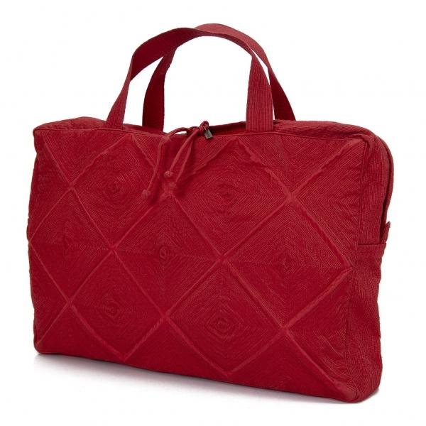 イッセイミヤケ ハートタマシャISSEY MIYAKEHaaTTaMaSHa 刺繍ハンドバッグ 赤