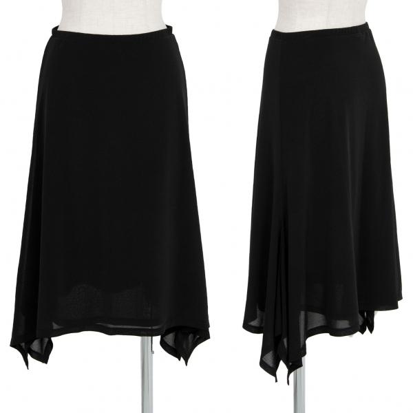 イッセイミヤケISSEY MIYAKE フレアドレープスカート 黒1