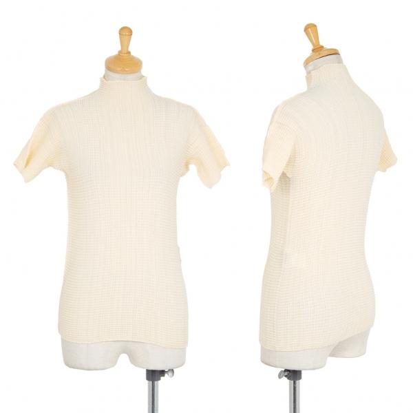 イッセイミヤケ フェットISSEY MIYAKE FETE ブロックプリーツハイネックTシャツ ベージュ2