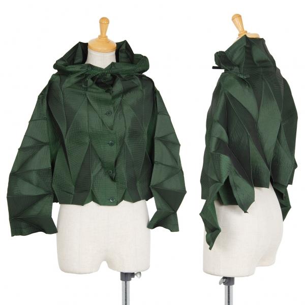 イッセイミヤケ フェットISSEY MIYAKE FETE 矢がすりプリーツ光沢ショートジャケット 緑2