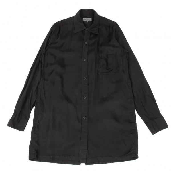 ヨウジヤマモト プールオムYohji Yamamoto POUR HOMME 製品染め異素材切替後ろ開きシャツ 黒2