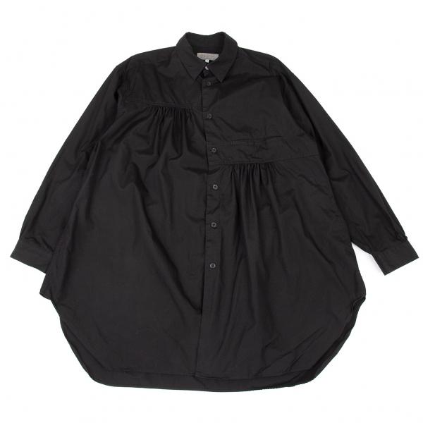 ヨウジヤマモト プールオムYohji Yamamoto POUR HOMME コットンギャザー切替ビッグシルエットシャツ 黒2