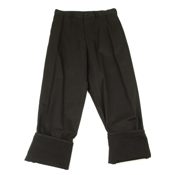ヨウジヤマモト プールオムYohji Yamamoto POUR HOMME 製品染めコットン裾裏ストライプ切替パンツ 黒2