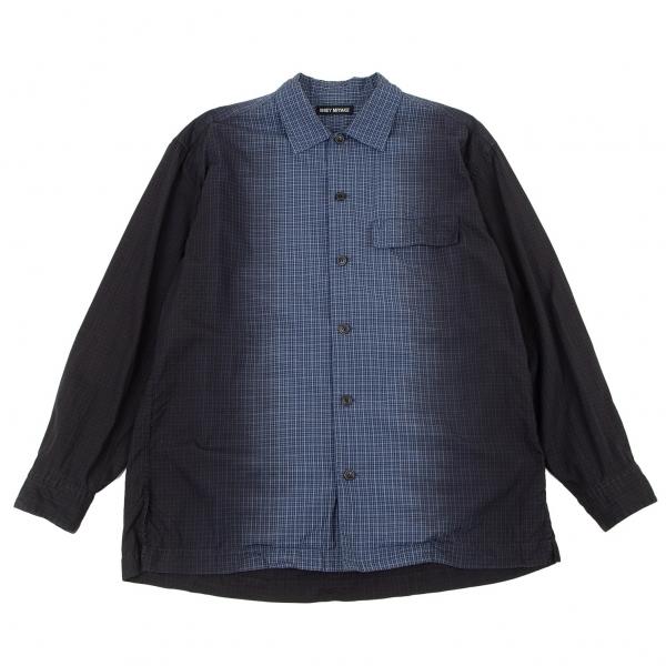 イッセイミヤケ メンISSEY MIYAKE MEN グラデーションチェック長袖シャツ 青黒2