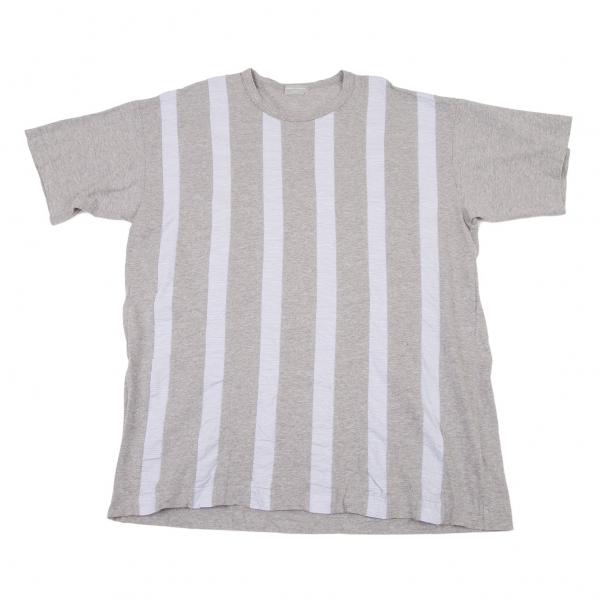 コムデギャルソン オムCOMME des GARCONS HOMME フロントストライプ切替Tシャツ 杢グレーL位